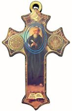 Saint St Benedict of Nursia Center Wood Pectoral Cross Jewelry Pendant, 3 Inch