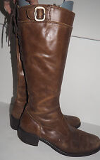 Nero Giardini Brown Leather Boot with Side Zipper and Lace Back - Size 6