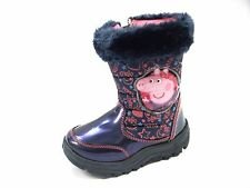 Girls Peppa Pig TOWERSEY Zip Snow Boot  Navy/Pink Size 5,6,7,8,9,10 Warm Lined