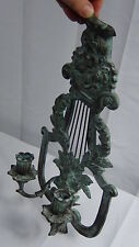 VINTAGE VICTORIAN STYLE BRONZE FIGURAL PATINATED HANGING DOUBLE SCONCE