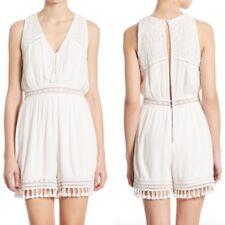 c10642f9566 NWT  350 Alice + Olivia Romper V-Neck Crochet Knit Tassel Trim White Size 10