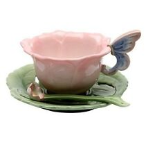 NEW COSMOS SET OF TWO 2 CERAMIC GREEN+PINK+BLUE TEACUP & SAUCER & SPOON 20854