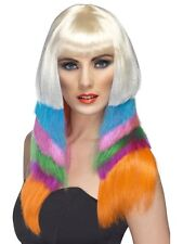 Mujer Disco Peluca Neón STARLET Colorido de Pelo Largo Plano multicolor NUEVO
