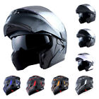 1Storm Motorcycle Full Face Helmet Modular Flip up Dual Shield Inner Sun Visor