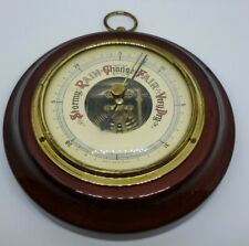 "New listing Vintage 5"" dia. Stellar Barometer Made in Western Germany Beveled Glass & Wood"