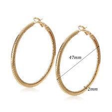 Womens 18K Gold Plated 2-Ring Big Round Korean Huggie Hoop Earrings