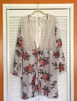 XL/1X/2X/3X New White Pink Roses Floral Kimono Jacket Top Topper Duster Cardigan