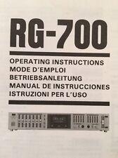 Sansui RG-700 Stereo Equalizer Original OWNERS MANUAL Multi Language  rg700
