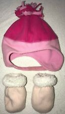 THE CHILDRENS PLACE fleece PINK BABY GIRLS HAT 6/12 month MITTENS winter wear