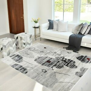 Rugs 8x10 Area Rug Abstract Modern Contemporary Floral 5x7 black gray Carpet