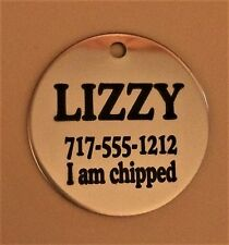 MADE IN USA Pet ID Tag Personalized-Dog-Tag-Laser-Etched-Stainless-Steel w/ring