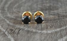 1.0 ct Round Cut Black Spinel Screw Back Earring Studs 14K Rose Gold