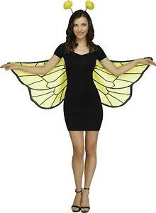 Bumblebee Bee Yellow Black Soft Wings Antennae Headband Adult Set One Size NEW