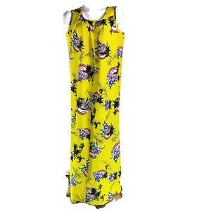 Hilo Hattie Large Yellow Floral Flowers Palm Trees Hawaiian Aloha Dress