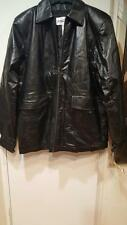 Men's Outerwear Winter zip-liner out 100% Leather Black Jacket Coat size L XL