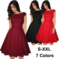 Women 50's Cap Sleeve Rockabilly Swing Evening Dress Cocktail Party Hem Dresses