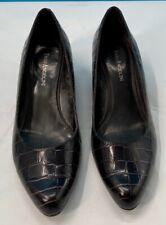 Enzo Angiolini Womens Classic Pump Shoes Brown Crocodile Embossed Slip Ons 8.5 M