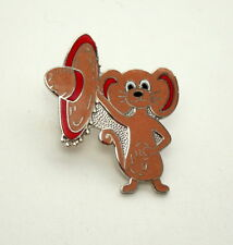 Vintage Cute Campy Mouse With Sombrero Hat 1970s Hat Lapel Pin New NOS
