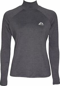 More Mile Train To Run Womens Running Top Grey Long Sleeve Funnel Neck Sport Tee
