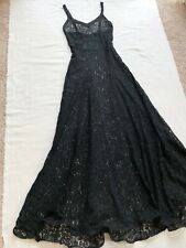 VTG 1930's Long Black Lace Evening Gown with Matching Jacket + Horsehair Hem