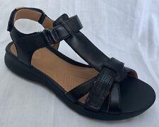 BNIB Clarks Unstructured Ladies Un Adorn Vibe Black Leather Flat Sandals