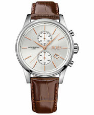 New Hugo Boss Men's Brown Leather Strap White Dial Steel Watch 1513280
