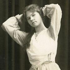 VINTAGE EDWARDIAN ARTISTIC AWKWARD POSE LONG HAIR BLONDE GIRL FUN OLD PHOTO RPPC