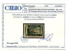 1954 GOVERNO POLACCO DI LONDRA 45g VERDE SCURO INTEGRO CERT CILIO MNH C/4794