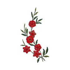 ID 6703 Blossoming Red Flower Branch Patch Nature Plant Craft Iron-On Applique