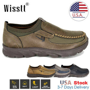 Mens Leather Casual Driving Shoes Breathable Antiskid Slip On Loafers Moccasins