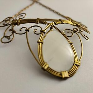 126 Neckless Bronze Gold Plated Onix White 85