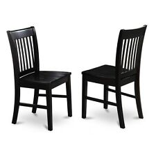 East West Furniture NFC-BLK-W Dining Chair Wood Seat Black Finish, Set Of 2 NEW