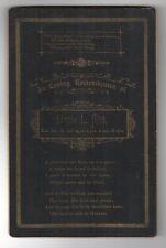 1889 MEMORIAL Death CABINET Card LIZZIE HITT Massachusetts MACABRE Teenager