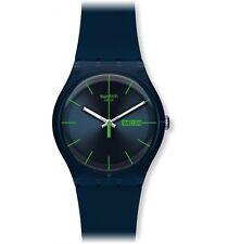 Swatch Unisex Azul Rebel Reloj,Minimalista Diseño,Esfera Azul,Fecha Ventana