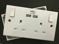Double 2 Gang Plug Socket & Back Box Pattress 13A with 2 USB Outlets Ports