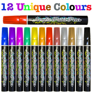 Acrylic Paint Pens Markers 12pc Permanent Art Rock Metal Glass Pebble Waterproof