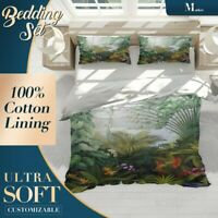 Tropical Leaves Floral Green Quilt Cover Queen Size Single Double King