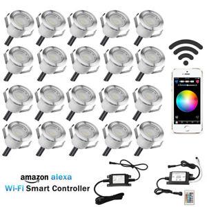 20X WAN LAN Smart Wifi 30mm 12V RGB IP67 Yard LED Deck Rail Kitchen Step Lights