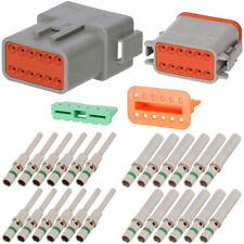 Deutsch DT 12 Pin Gray Connector Kit w/ 14 AWG Solid Contacts