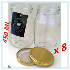 8 x Dessert Pudding/Lolly/Candy JAM Glass Jar w/h RUBBER SEAL GOLD LID 450 ml a