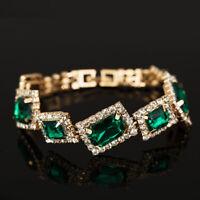 Sparking New Square Emerald Gold Filled Rhinestone Bracelet Bangle Chain Jewelry