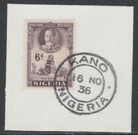 Nigeria 5534 - 1936 KG5 6d Pictoria on piece with MADAME JOSEPH FORGED CANCEL