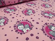 Stoff Baumwolle Jersey Einhorn Blumen Unicorn pink rosa bunt Kinderstoff