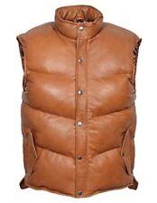 Men's Padded TAN Puffer WARM Waistcoat Sleeveless Real Genuine Leather Waistcoat