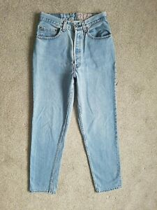 Vintage Levis USA High Waisted Tapered 901 Light Blue 80s Mom Jeans 8 W27 L30