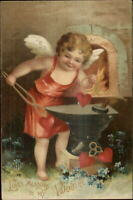 Valentine Cupid Blacksmith Forge Anvil Fire Unsigned Clapsaddle? Postcard #2