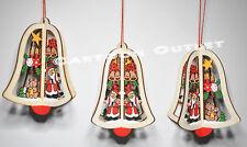 3 WOODEN CHRISTMAS ORNAMENTS OFFICE HOME DECOR SANTA CLAUE 3 PIECE SET FUN CUTE
