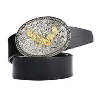 Men's Leather Belt Cowboy Western Style Eagle Arabesque Belt Buckle 120cm
