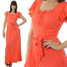Vintage 70s Boho Hippie Prairie peasant melon coral party maxi dress scoop neck