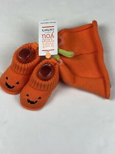 Carter's Just One You Pumpkin Hat Booties Halloween Orange Jack O Lantern NWT
